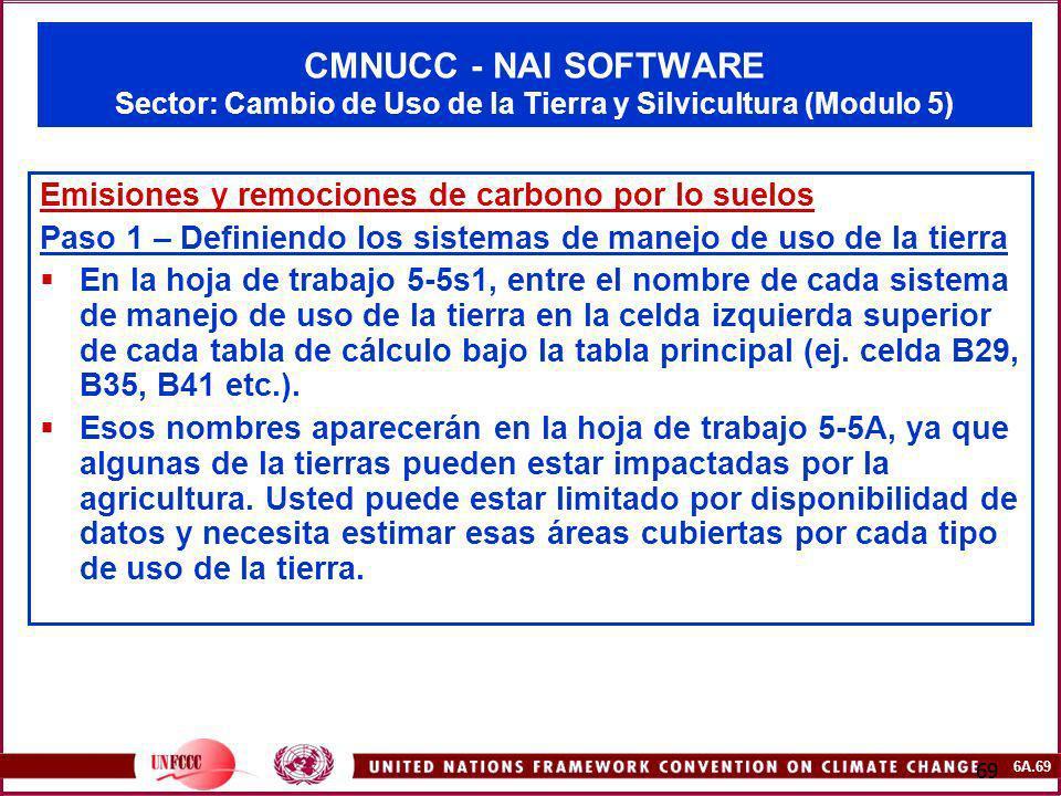 6A.69 69 CMNUCC - NAI SOFTWARE Sector: Cambio de Uso de la Tierra y Silvicultura (Modulo 5) Emisiones y remociones de carbono por lo suelos Paso 1 – D