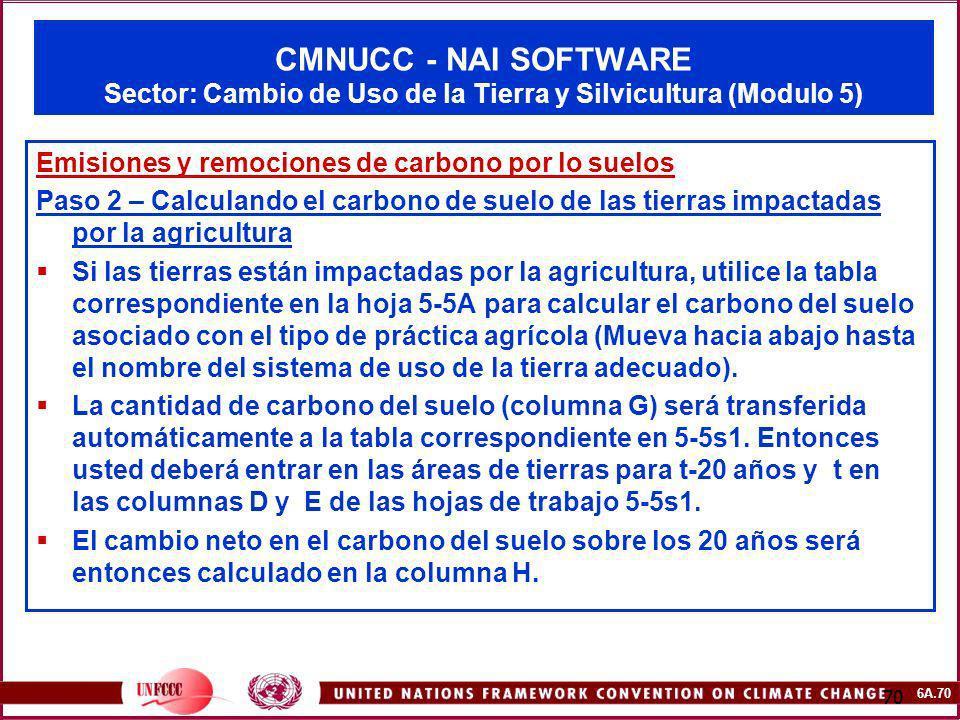 6A.70 70 CMNUCC - NAI SOFTWARE Sector: Cambio de Uso de la Tierra y Silvicultura (Modulo 5) Emisiones y remociones de carbono por lo suelos Paso 2 – C