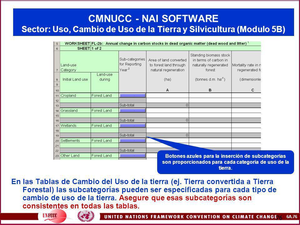 6A.76 76 CMNUCC - NAI SOFTWARE Sector: Uso, Cambio de Uso de la Tierra y Silvicultura (Modulo 5B) En las Tablas de Cambio del Uso de la tierra (ej. Ti