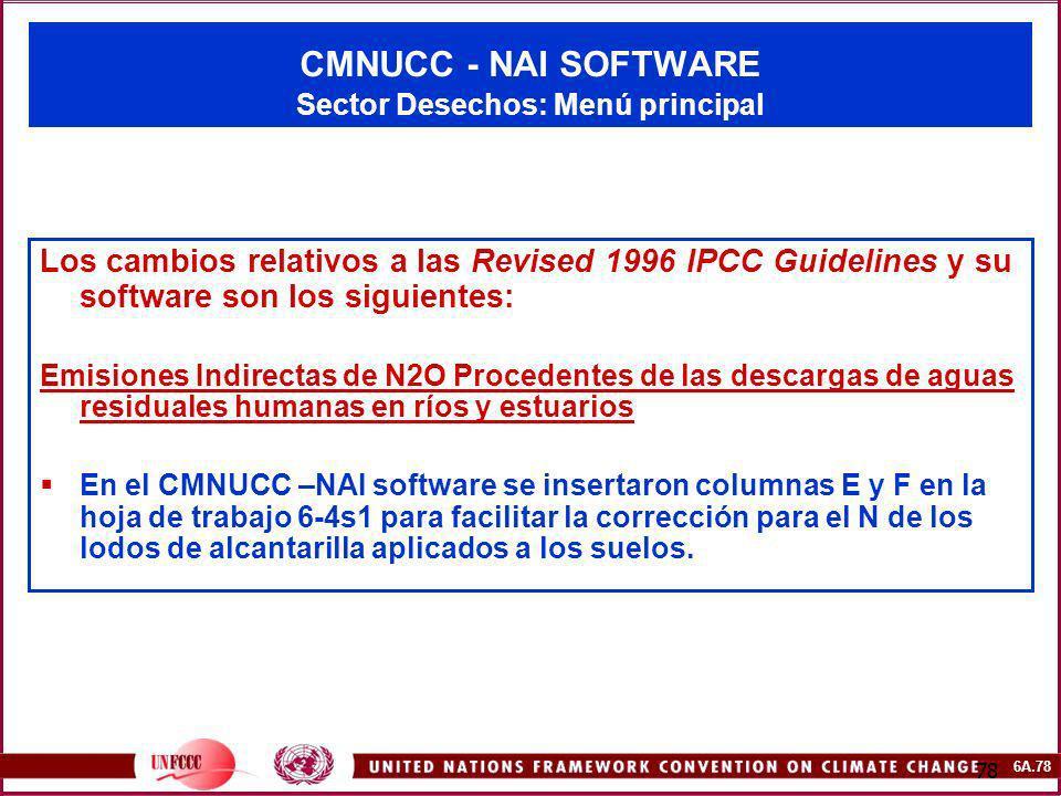 6A.78 78 CMNUCC - NAI SOFTWARE Sector Desechos: Menú principal Los cambios relativos a las Revised 1996 IPCC Guidelines y su software son los siguient