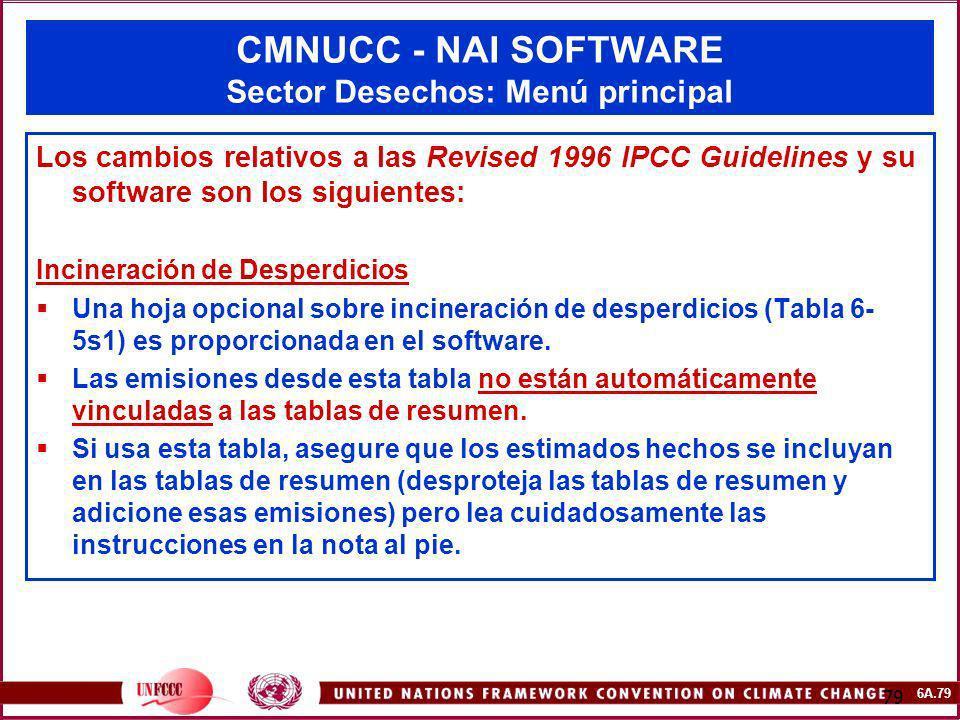 6A.79 79 CMNUCC - NAI SOFTWARE Sector Desechos: Menú principal Los cambios relativos a las Revised 1996 IPCC Guidelines y su software son los siguient