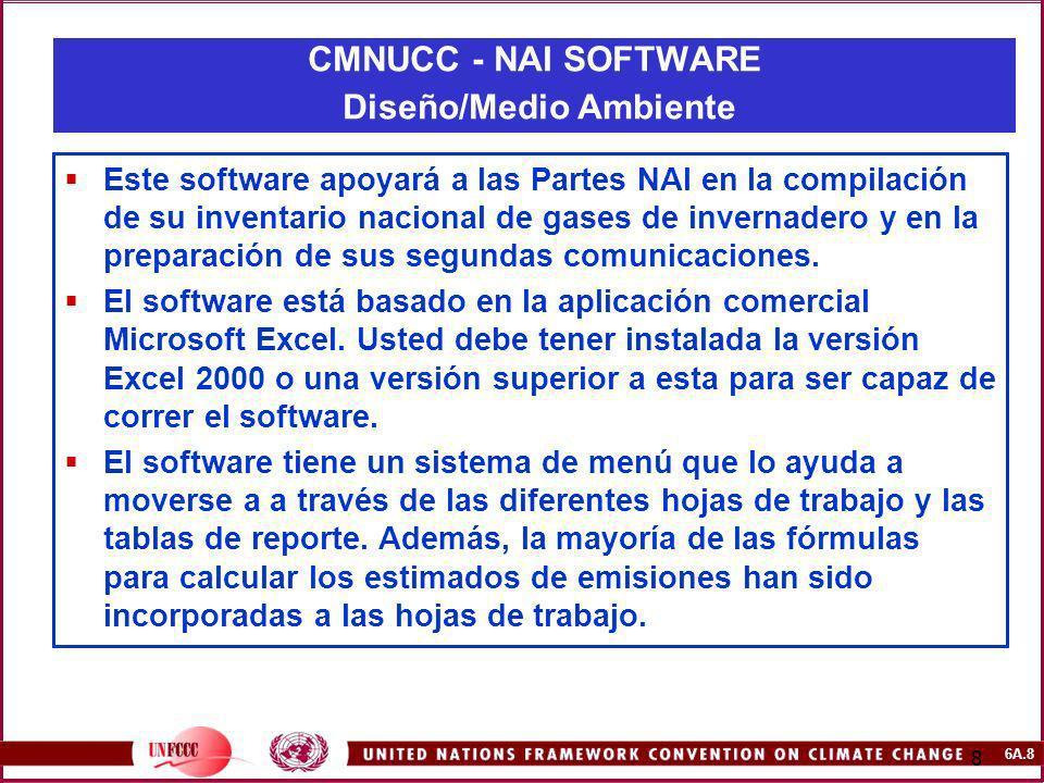 6A.8 8 Este software apoyará a las Partes NAI en la compilación de su inventario nacional de gases de invernadero y en la preparación de sus segundas
