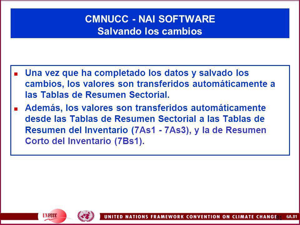 6A.81 81 CMNUCC - NAI SOFTWARE Salvando los cambios Una vez que ha completado los datos y salvado los cambios, los valores son transferidos automática