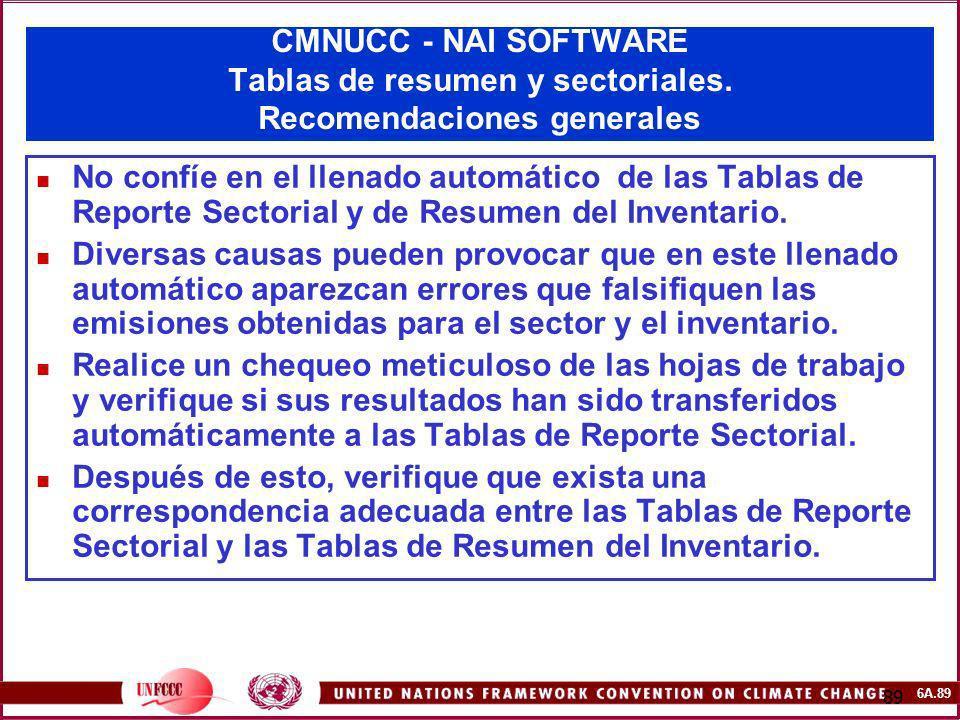 6A.89 89 CMNUCC - NAI SOFTWARE Tablas de resumen y sectoriales. Recomendaciones generales No confíe en el llenado automático de las Tablas de Reporte