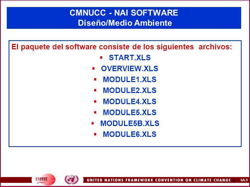 6A.9 9 CMNUCC - NAI SOFTWARE Diseño/Medio Ambiente El paquete del software consiste de los siguientes archivos: START.XLS OVERVIEW.XLS MODULE1.XLS MOD
