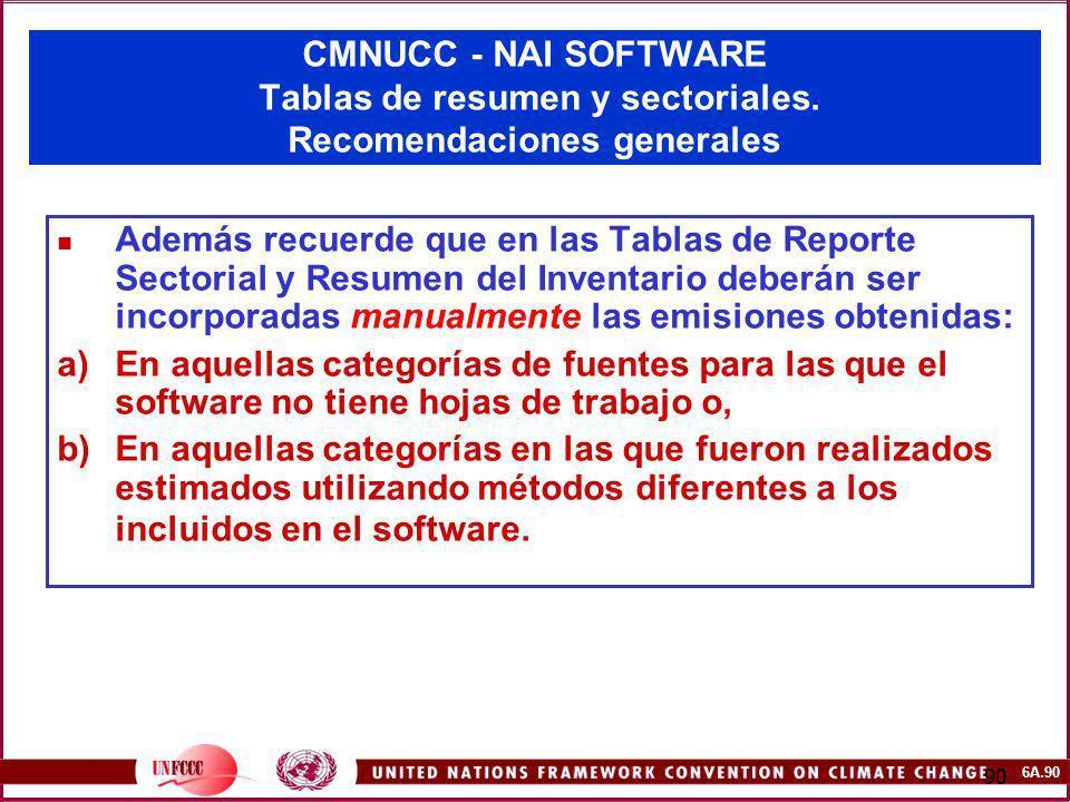 6A.90 90 CMNUCC - NAI SOFTWARE Tablas de resumen y sectoriales. Recomendaciones generales Además recuerde que en las Tablas de Reporte Sectorial y Res