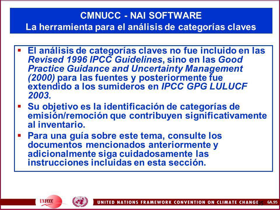 6A.95 95 CMNUCC - NAI SOFTWARE La herramienta para el análisis de categorías claves El análisis de categorías claves no fue incluido en las Revised 19
