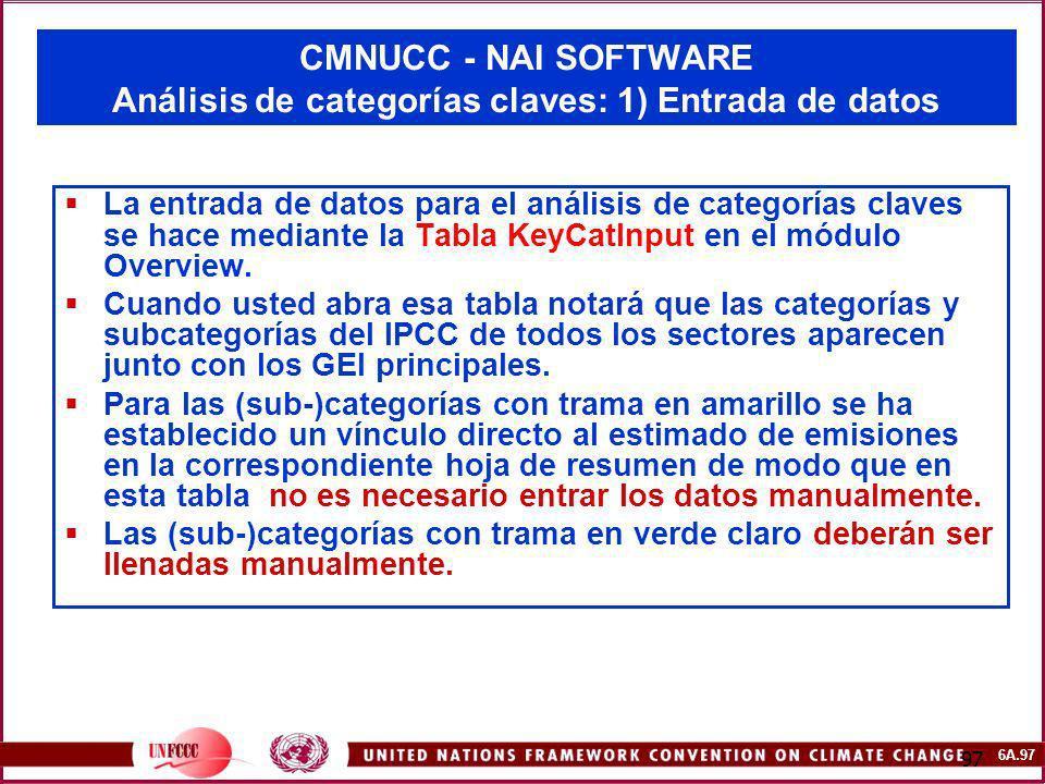 6A.97 97 CMNUCC - NAI SOFTWARE Análisis de categorías claves: 1) Entrada de datos La entrada de datos para el análisis de categorías claves se hace me