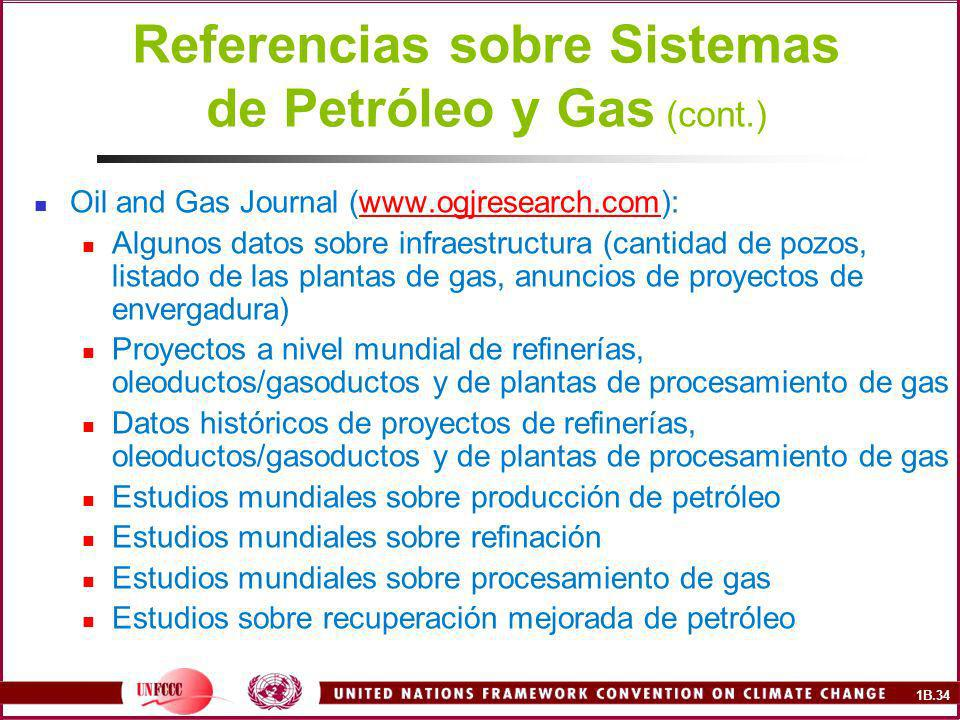 1B.34 Referencias sobre Sistemas de Petróleo y Gas (cont.) Oil and Gas Journal (www.ogjresearch.com):www.ogjresearch.com Algunos datos sobre infraestr