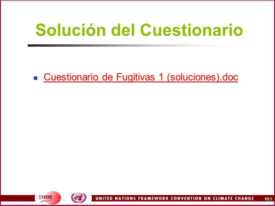1B.6 Emisiones Fugitivas Fugitivas (2-3 horas) Cuestionario 1 Extracción y manejo del carbón mineral Sistemas de petróleo y gas natural Incertidumbre Presentación de Informes Referencias Cuestionario 2