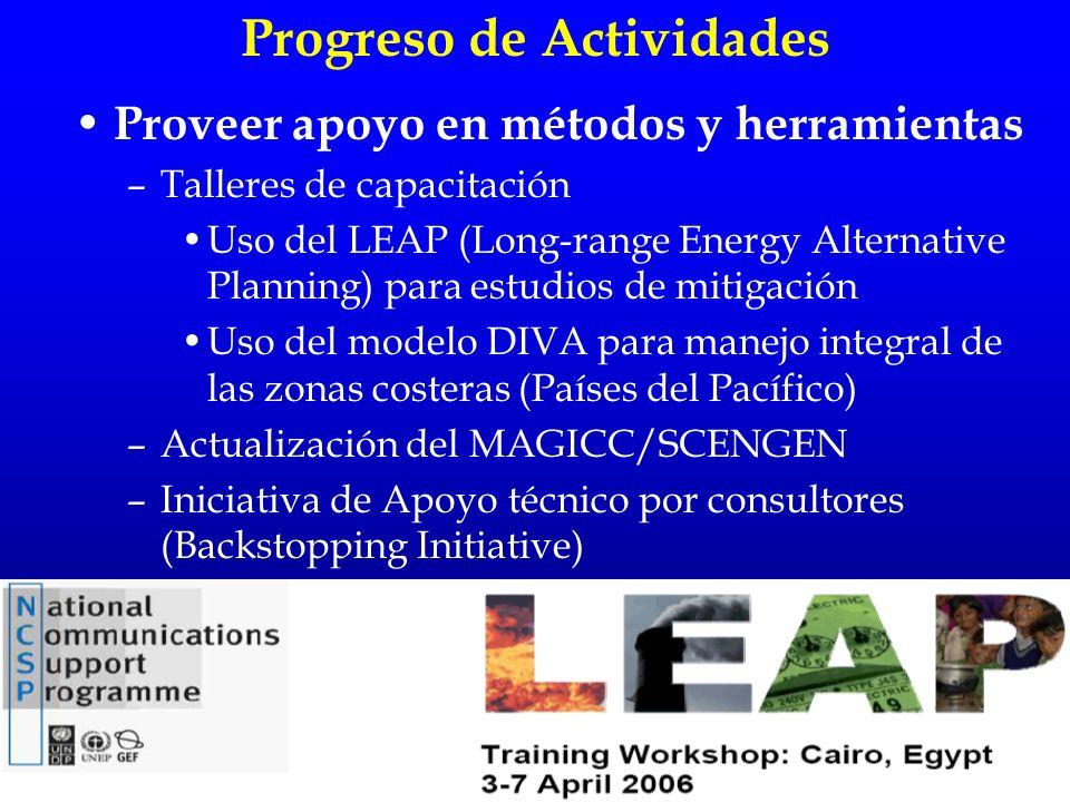 Proveer apoyo en métodos y herramientas –Talleres de capacitación Uso del LEAP (Long-range Energy Alternative Planning) para estudios de mitigación Us