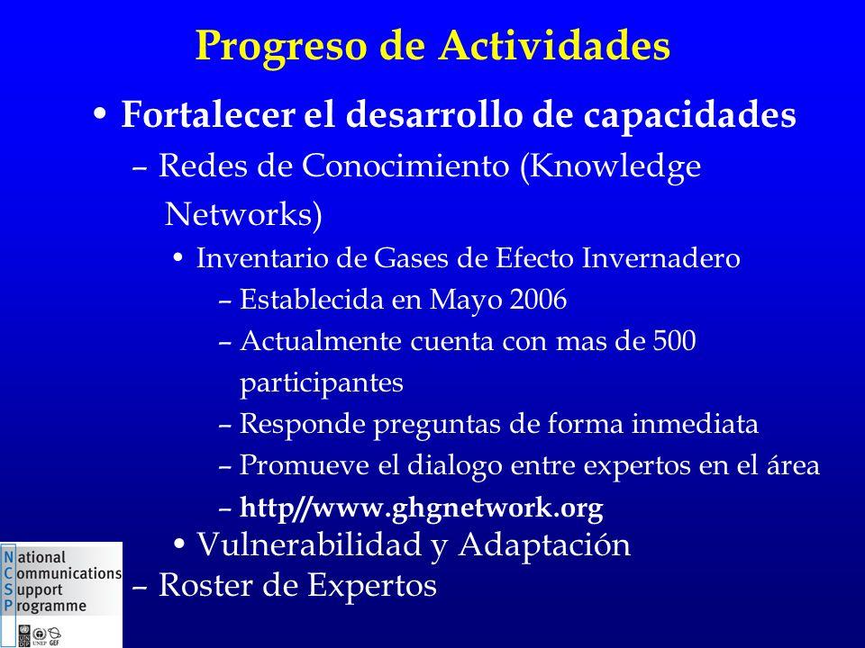 Progreso de Actividades Fortalecer el desarrollo de capacidades –Redes de Conocimiento (Knowledge Networks) Inventario de Gases de Efecto Invernadero
