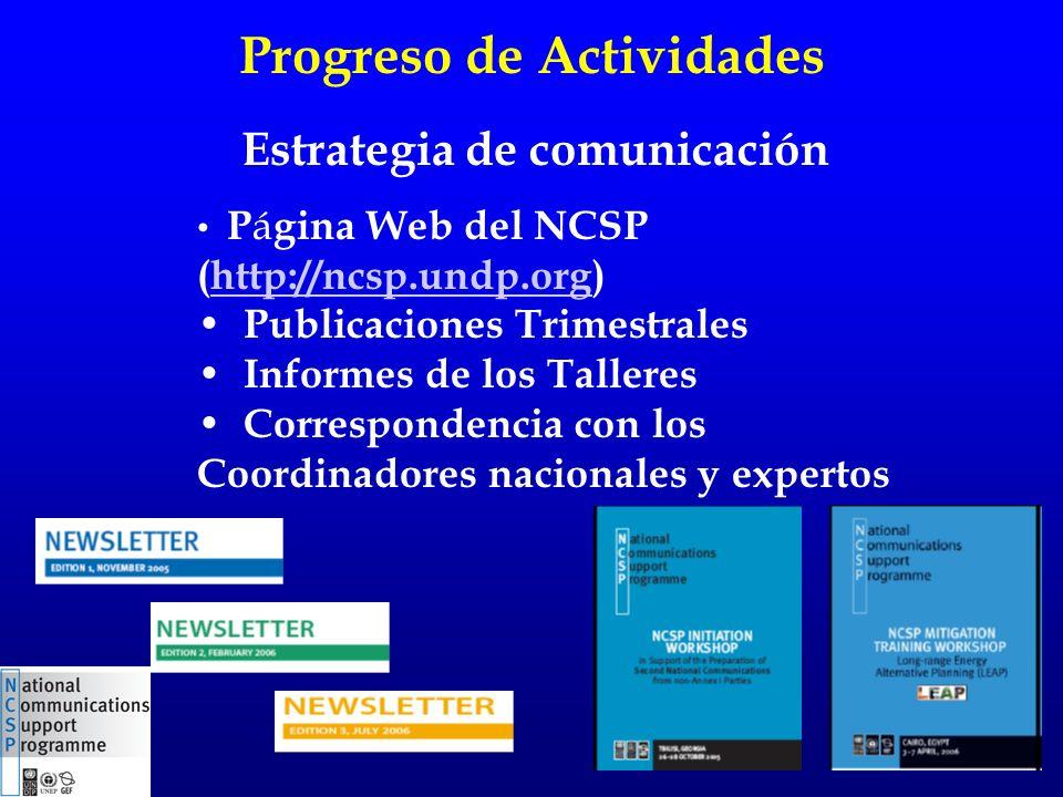 Progreso de Actividades P á gina Web del NCSP (http://ncsp.undp.org)http://ncsp.undp.org Publicaciones Trimestrales Informes de los Talleres Correspondencia con los Coordinadores nacionales y expertos Estrategia de comunicación
