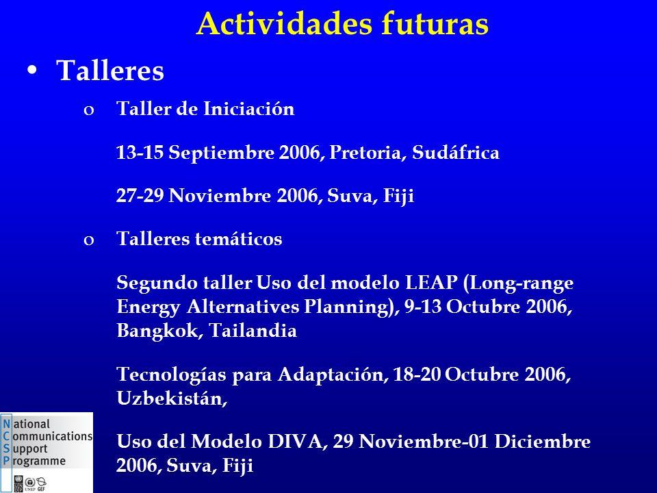 Talleres o Taller de Iniciación 13-15 Septiembre 2006, Pretoria, Sudáfrica 27-29 Noviembre 2006, Suva, Fiji o Talleres temáticos Segundo taller Uso del modelo LEAP (Long-range Energy Alternatives Planning), 9-13 Octubre 2006, Bangkok, Tailandia Tecnologías para Adaptación, 18-20 Octubre 2006, Uzbekistán, Uso del Modelo DIVA, 29 Noviembre-01 Diciembre 2006, Suva, Fiji Actividades futuras
