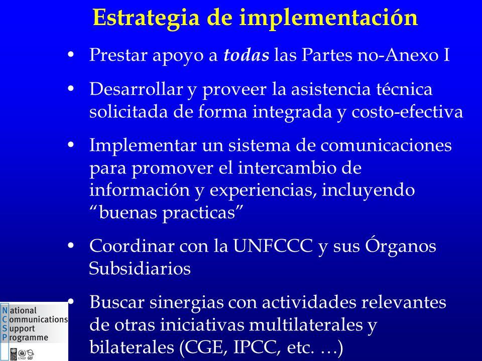 Estrategia de implementación Prestar apoyo a todas las Partes no-Anexo I Desarrollar y proveer la asistencia técnica solicitada de forma integrada y costo-efectiva Implementar un sistema de comunicaciones para promover el intercambio de información y experiencias, incluyendo buenas practicas Coordinar con la UNFCCC y sus Órganos Subsidiarios Buscar sinergias con actividades relevantes de otras iniciativas multilaterales y bilaterales (CGE, IPCC, etc.