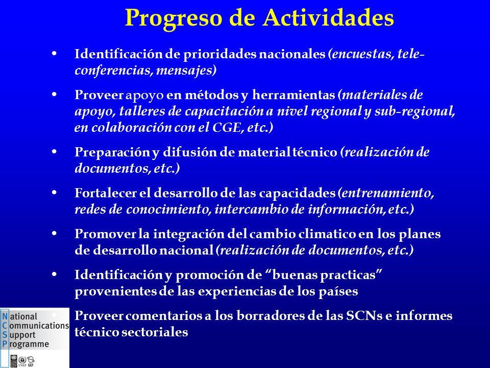 Progreso de Actividades Identificación de prioridades nacionales (encuestas, tele- conferencias, mensajes) Proveer apoyo en métodos y herramientas (ma