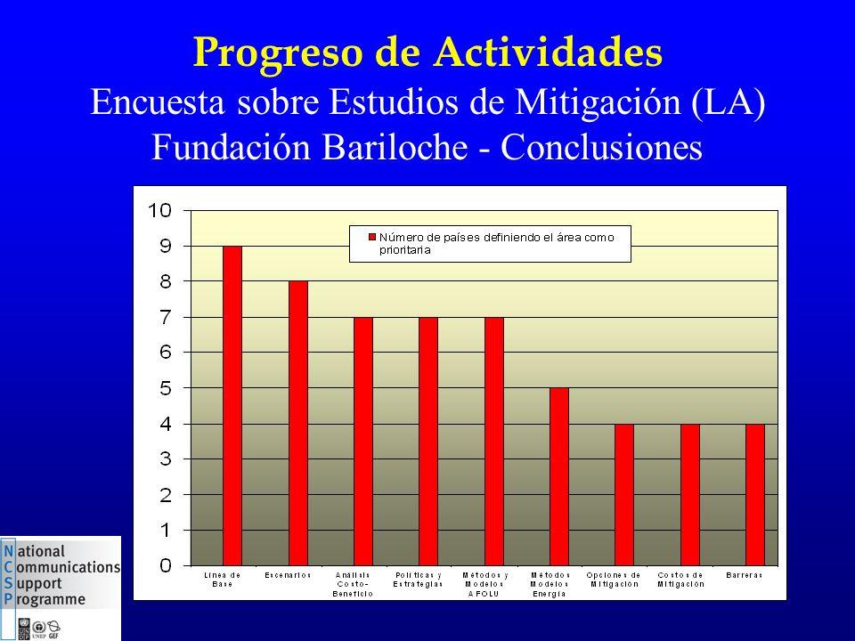 Progreso de Actividades Encuesta sobre Estudios de Mitigación (LA) Fundación Bariloche - Conclusiones
