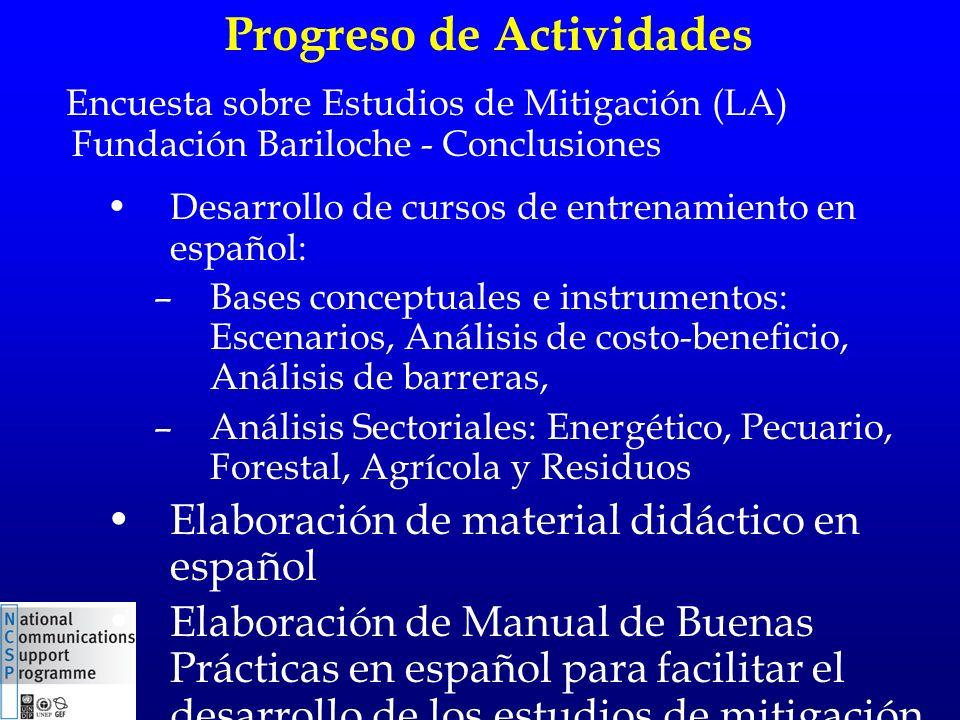 Progreso de Actividades Desarrollo de cursos de entrenamiento en español: –Bases conceptuales e instrumentos: Escenarios, Análisis de costo-beneficio,