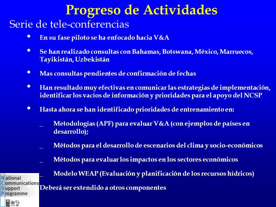 Serie de tele-conferencias En su fase piloto se ha enfocado hacia V&A Se han realizado consultas con Bahamas, Botswana, México, Marruecos, Tayikistán,