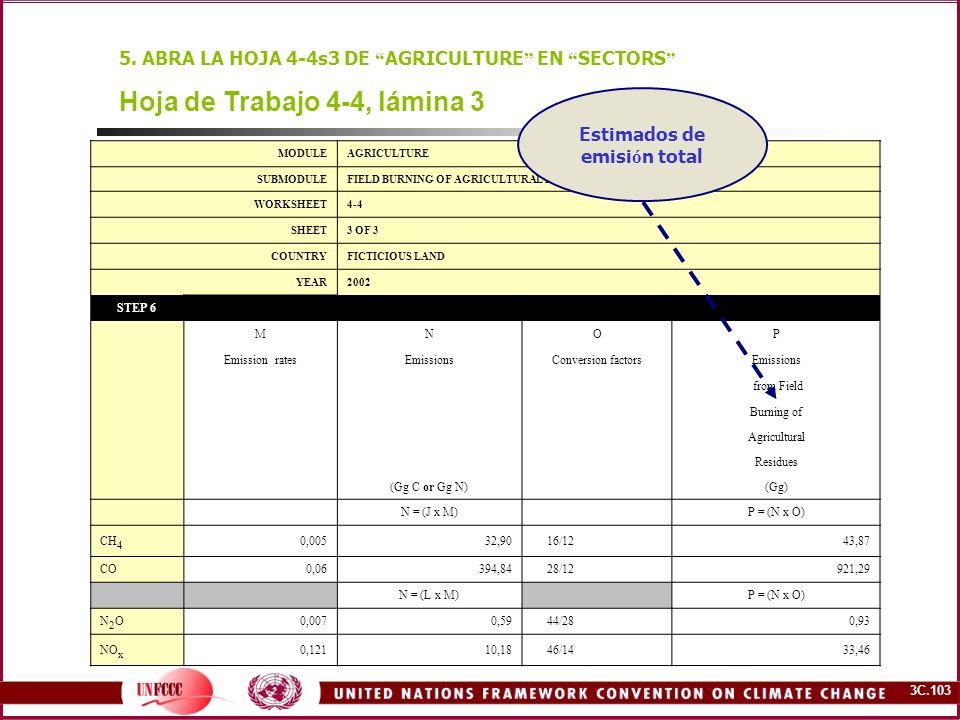 3C.103 Hoja de Trabajo 4-4, lámina 3 5. ABRA LA HOJA 4-4s3 DE AGRICULTURE EN SECTORS MODULEAGRICULTURE SUBMODULEFIELD BURNING OF AGRICULTURAL RESIDUES