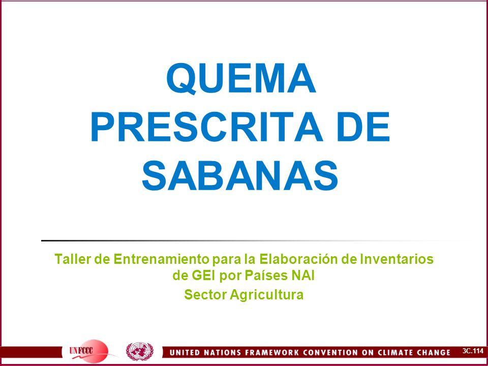 3C.114 QUEMA PRESCRITA DE SABANAS Taller de Entrenamiento para la Elaboración de Inventarios de GEI por Países NAI Sector Agricultura