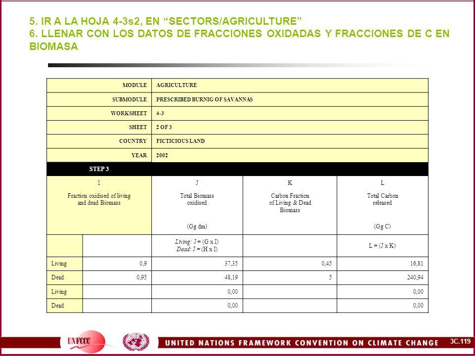 3C.119 5. IR A LA HOJA 4-3s2, EN SECTORS/AGRICULTURE 6. LLENAR CON LOS DATOS DE FRACCIONES OXIDADAS Y FRACCIONES DE C EN BIOMASA MODULEAGRICULTURE SUB