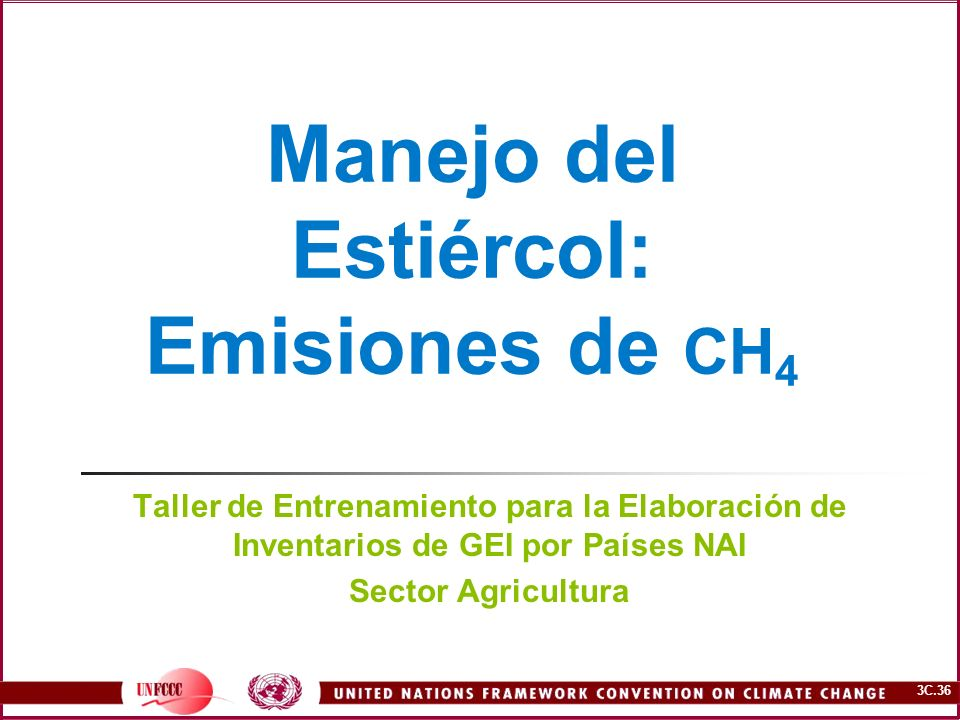 3C.36 Manejo del Estiércol: Emisiones de CH 4 Taller de Entrenamiento para la Elaboración de Inventarios de GEI por Países NAI Sector Agricultura