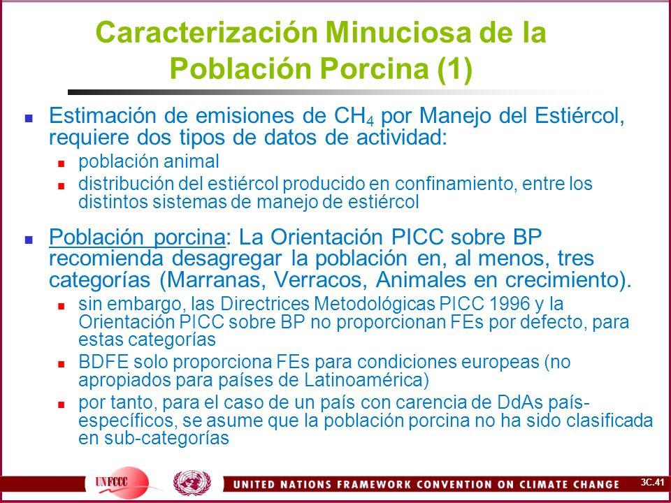 3C.41 Caracterización Minuciosa de la Población Porcina (1) Estimación de emisiones de CH 4 por Manejo del Estiércol, requiere dos tipos de datos de a