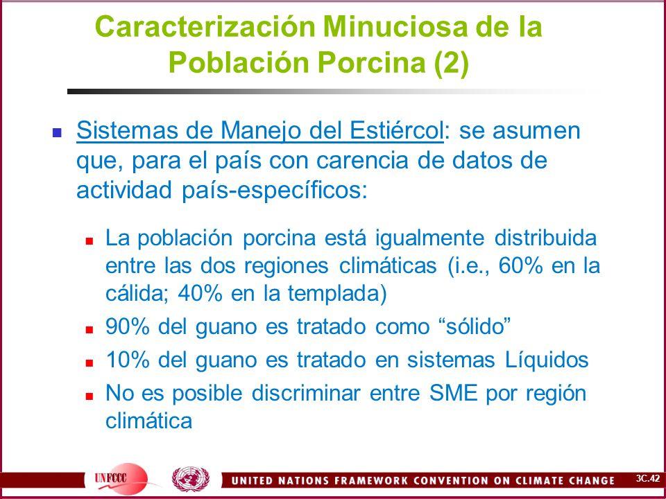 3C.42 Caracterización Minuciosa de la Población Porcina (2) Sistemas de Manejo del Estiércol: se asumen que, para el país con carencia de datos de act