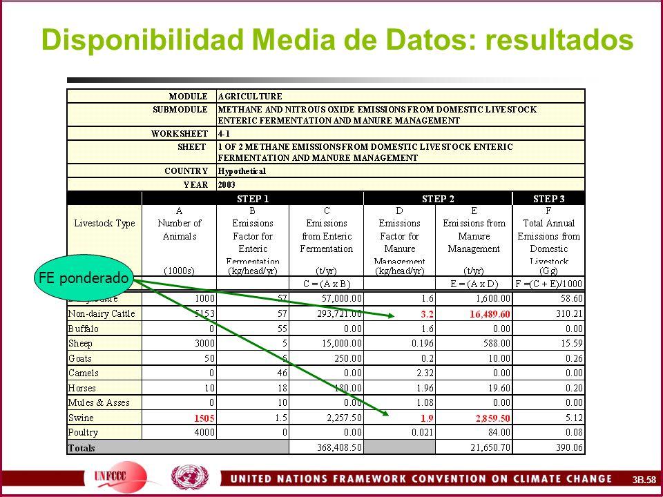 Disponibilidad Media de Datos: resultados FE ponderado 3B.58