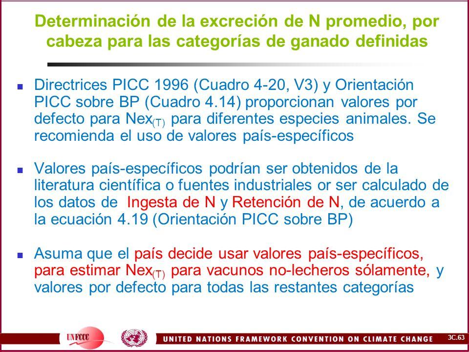 3C.63 Determinación de la excreción de N promedio, por cabeza para las categorías de ganado definidas Directrices PICC 1996 (Cuadro 4-20, V3) y Orient