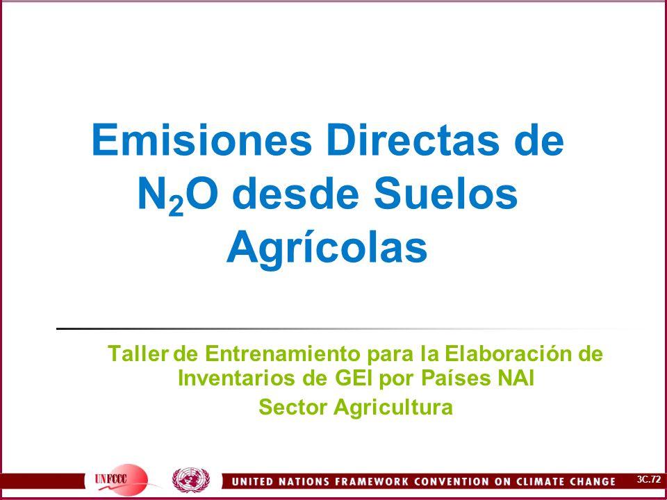 3C.72 Emisiones Directas de N 2 O desde Suelos Agrícolas Taller de Entrenamiento para la Elaboración de Inventarios de GEI por Países NAI Sector Agric
