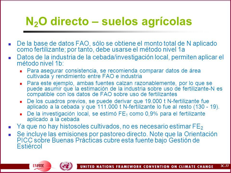 3C.77 N 2 O directo – suelos agrícolas De la base de datos FAO, sólo se obtiene el monto total de N aplicado como fertilizante; por tanto, debe usarse