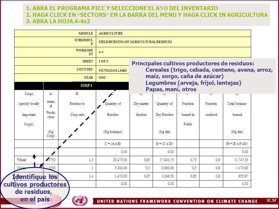 3C.98 B.Relación residuo/cultivo A. Producción anual del cultivo (Gg) C.