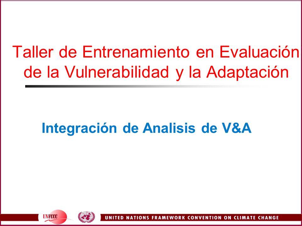 Introducción Resultados de Integración Puntos Generales Cross sector and multisector integration Sector Cruz e integración multisectorial Estableciendo Prioridades Vulnerabilidad Adaptación