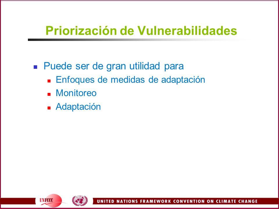 Priorización de Vulnerabilidades Puede ser de gran utilidad para Enfoques de medidas de adaptación Monitoreo Adaptación