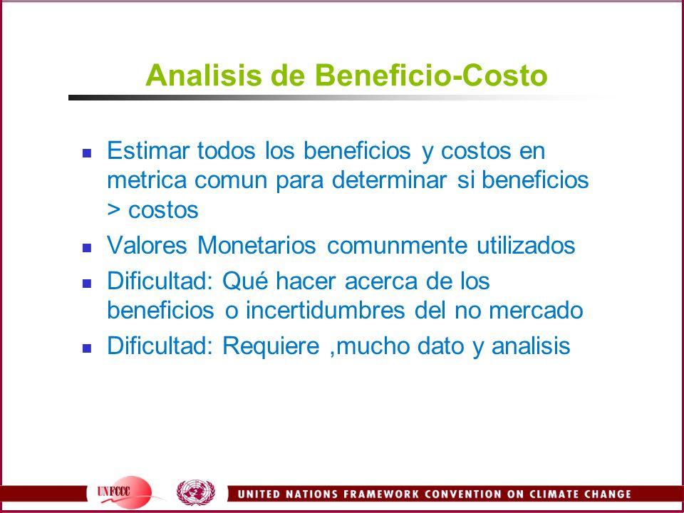 Analisis de Beneficio-Costo Estimar todos los beneficios y costos en metrica comun para determinar si beneficios > costos Valores Monetarios comunmente utilizados Dificultad: Qué hacer acerca de los beneficios o incertidumbres del no mercado Dificultad: Requiere,mucho dato y analisis