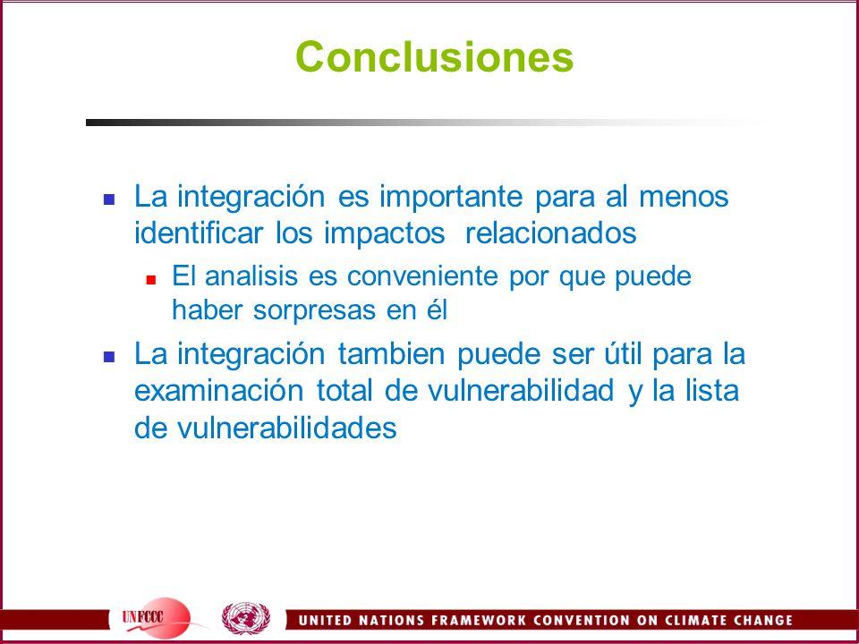 Conclusiones La integración es importante para al menos identificar los impactos relacionados El analisis es conveniente por que puede haber sorpresas en él La integración tambien puede ser útil para la examinación total de vulnerabilidad y la lista de vulnerabilidades