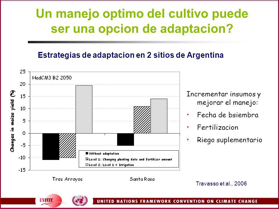 Estrategias de adaptacion en 2 sitios de Argentina Incrementar insumos y mejorar el manejo: Fecha de bsiembra Fertilizacion Riego suplementario Travas