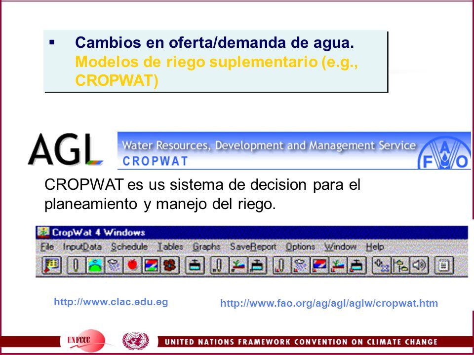 http://www.fao.org/ag/agl/aglw/cropwat.htm CROPWAT es us sistema de decision para el planeamiento y manejo del riego. Cambios en oferta/demanda de agu