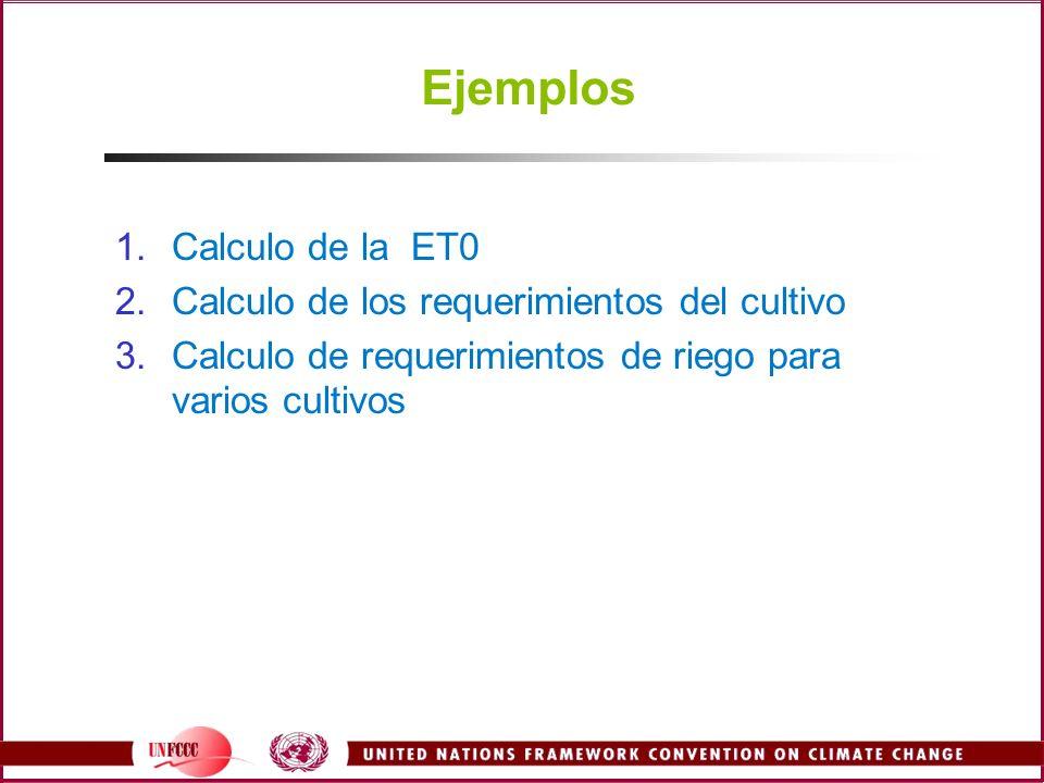 Ejemplos 1.Calculo de la ET0 2.Calculo de los requerimientos del cultivo 3.Calculo de requerimientos de riego para varios cultivos
