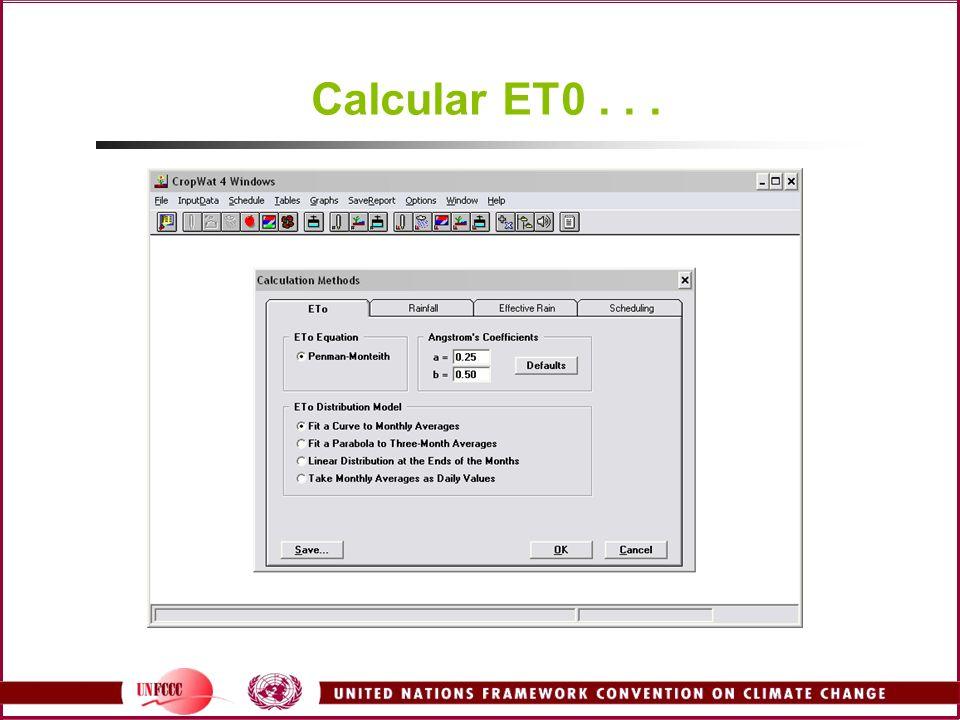 Calcular ET0...