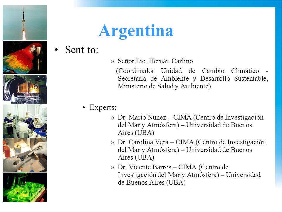Argentina Sent to: »Señor Lic.