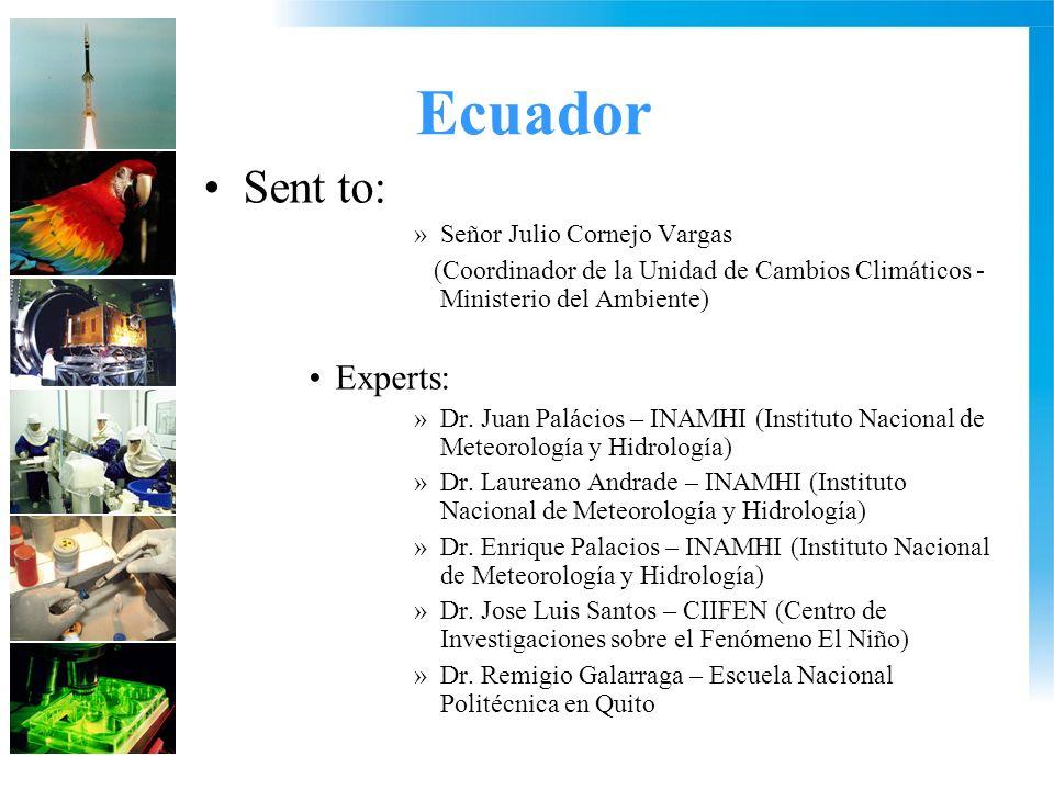 Ecuador Sent to: »Señor Julio Cornejo Vargas (Coordinador de la Unidad de Cambios Climáticos - Ministerio del Ambiente) Experts: »Dr.