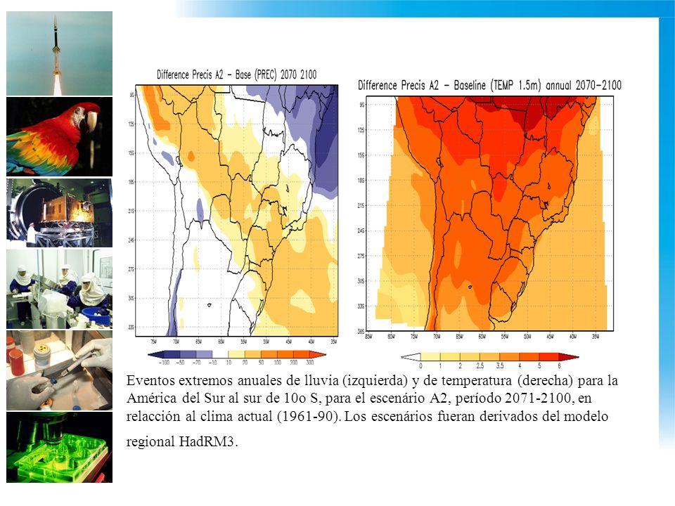 Eventos extremos anuales de lluvia (izquierda) y de temperatura (derecha) para la América del Sur al sur de 10o S, para el escenário A2, período 2071-2100, en relacción al clima actual (1961-90).