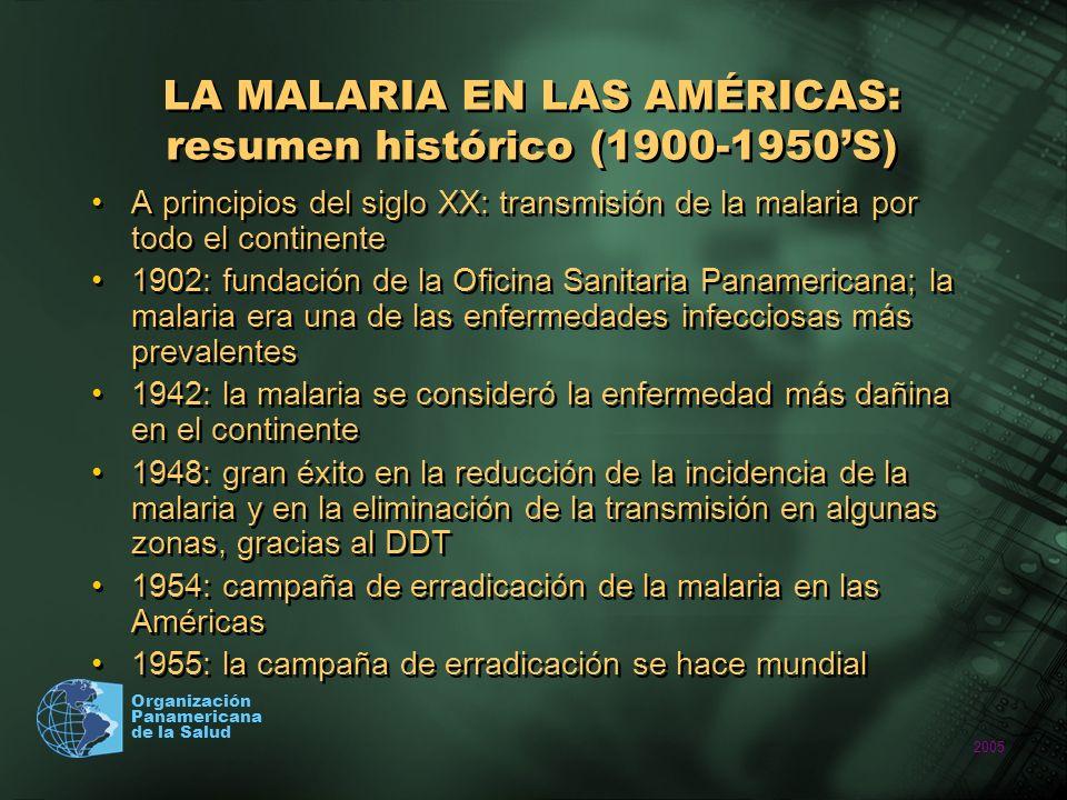 2005 Organización Panamericana de la Salud LA MALARIA EN LAS AMÉRICAS: resumen histórico (1960-presente) Década de 1960 : interrupción de la transmisión de la malaria en el Caribe, excepto en Hispañola 1992: Estrategia Mundial de Lucha contra el Paludismo; el énfasis pasa de la erradicación al control 1998: hacer retroceder la malaria (RBM); reducir a la mitad la morbilidad y mortalidad por malaria para 2010 2000: los Estados Miembros de la OPS adoptan la resolución para hacer retroceder la malaria 2000: objetivos de desarrollo del milenio, de las Naciones Unidas: … Haber detenido y comenzado a reducir, para el año 2015, la propagación del VIH/SIDA, la tuberculosis y la malaria Década de 1960 : interrupción de la transmisión de la malaria en el Caribe, excepto en Hispañola 1992: Estrategia Mundial de Lucha contra el Paludismo; el énfasis pasa de la erradicación al control 1998: hacer retroceder la malaria (RBM); reducir a la mitad la morbilidad y mortalidad por malaria para 2010 2000: los Estados Miembros de la OPS adoptan la resolución para hacer retroceder la malaria 2000: objetivos de desarrollo del milenio, de las Naciones Unidas: … Haber detenido y comenzado a reducir, para el año 2015, la propagación del VIH/SIDA, la tuberculosis y la malaria