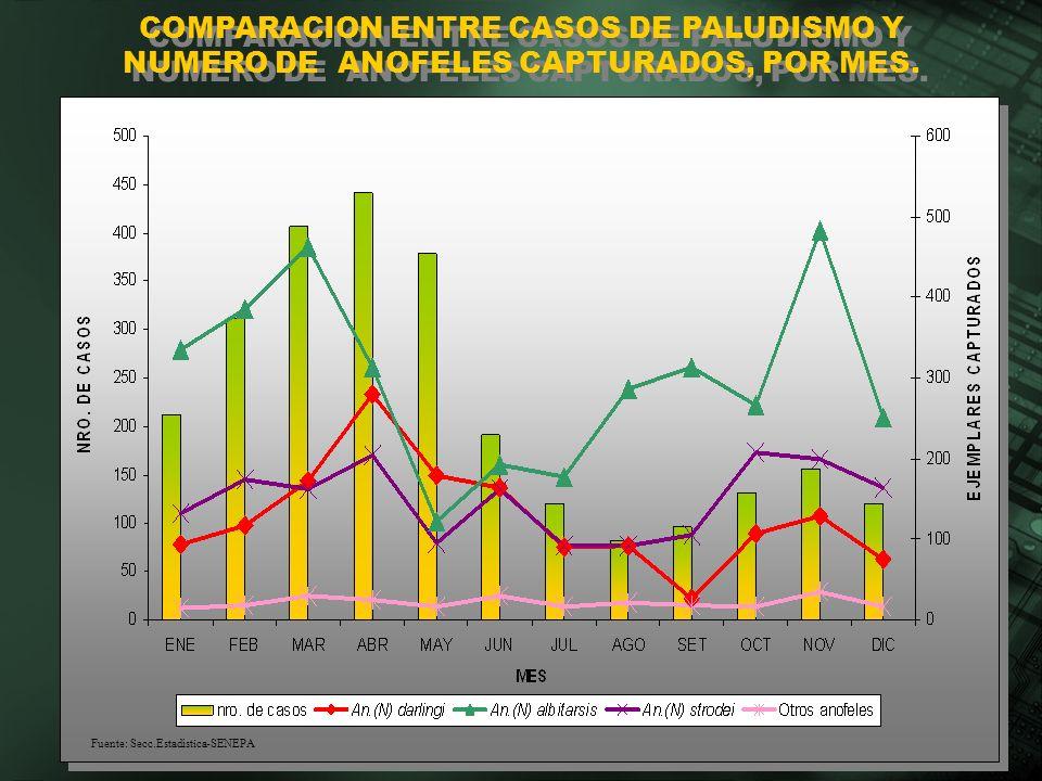 COMPARACION ENTRE CASOS DE PALUDISMO Y NUMERO DE ANOFELES CAPTURADOS, POR MES. Fuente: Secc.Estadística-SENEPA