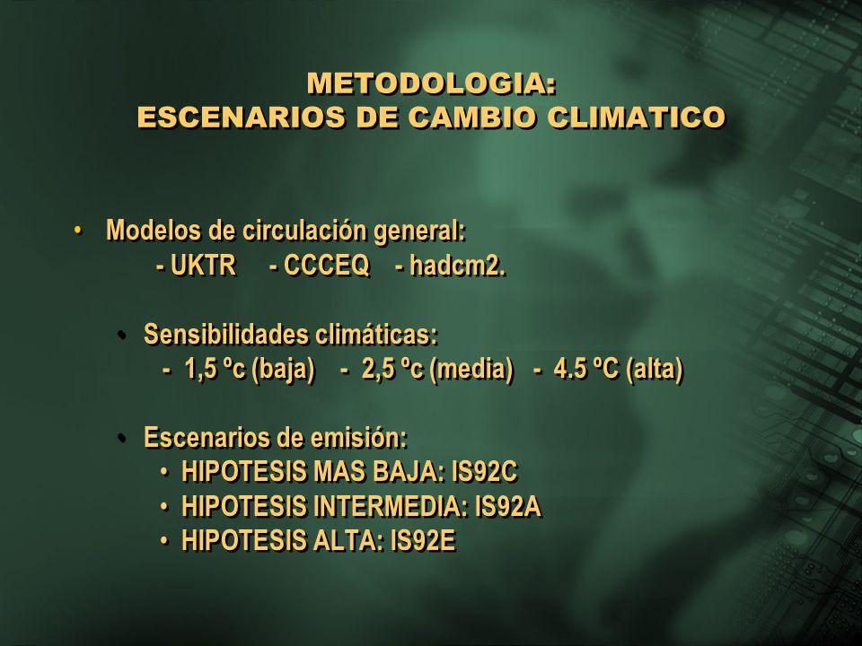 METODOLOGIA: ESCENARIOS DE CAMBIO CLIMATICO Modelos de circulación general: - UKTR - CCCEQ - hadcm2. Sensibilidades climáticas: - 1,5 ºc (baja) - 2,5