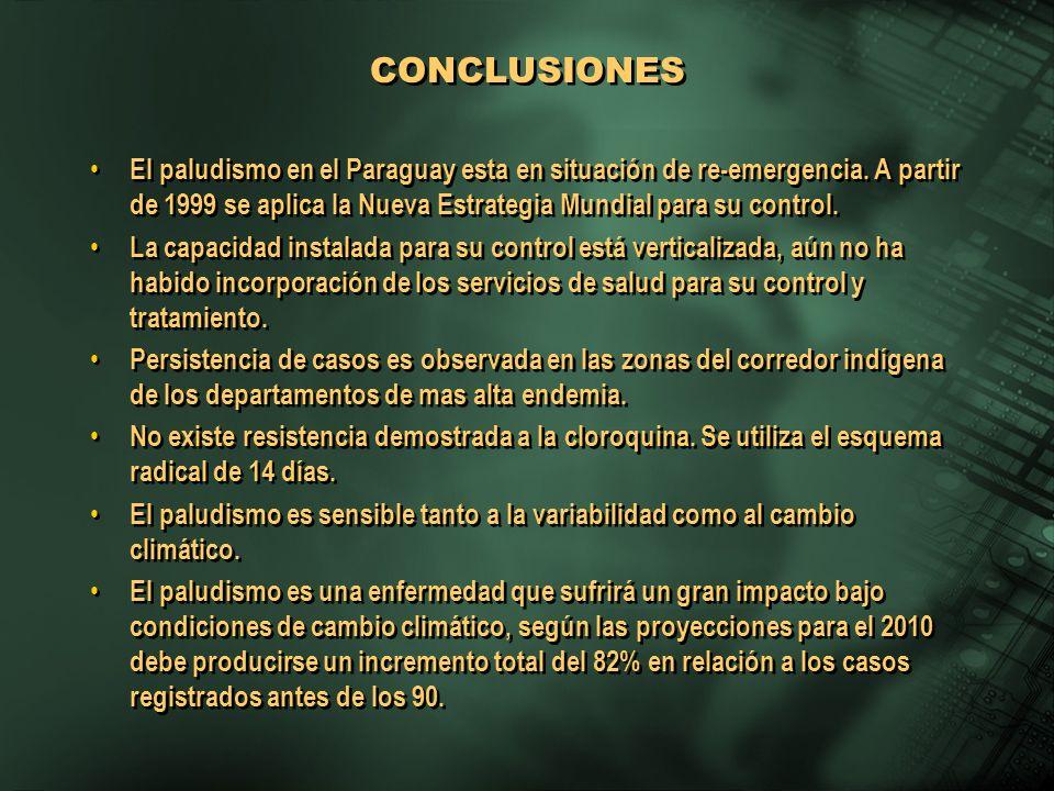 El paludismo en el Paraguay esta en situación de re-emergencia. A partir de 1999 se aplica la Nueva Estrategia Mundial para su control. La capacidad i