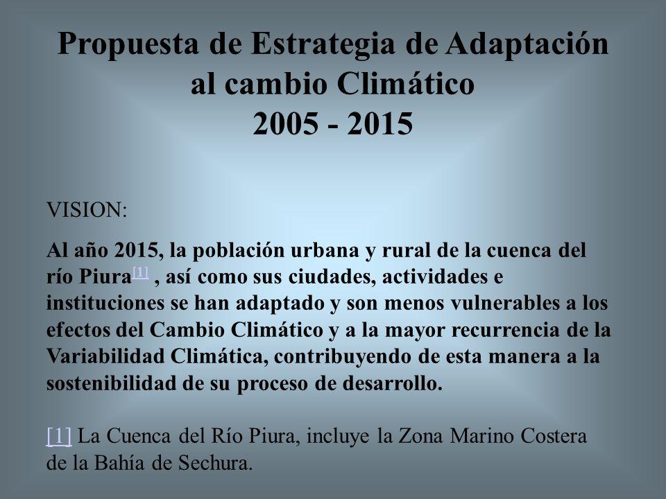 VISION: Al año 2015, la población urbana y rural de la cuenca del río Piura [1], así como sus ciudades, actividades e instituciones se han adaptado y son menos vulnerables a los efectos del Cambio Climático y a la mayor recurrencia de la Variabilidad Climática, contribuyendo de esta manera a la sostenibilidad de su proceso de desarrollo.